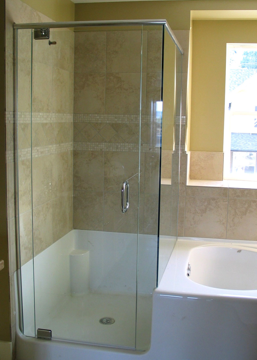 Corner abc shower door and mirror corporation for Bathroom entrance doors